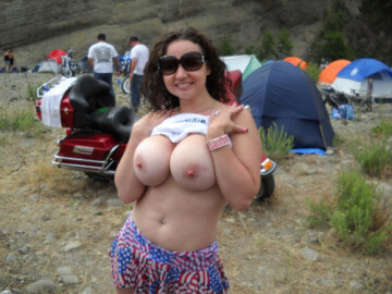 flashing at the festival campsite