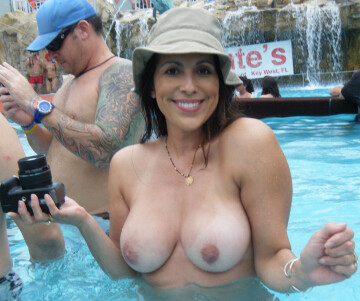 topless in a public pool