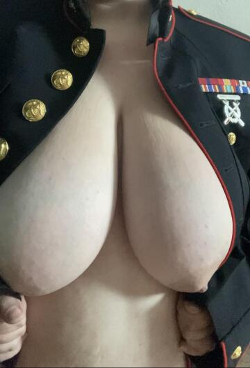 no idea why i thought my husband's blues would button over my tits...