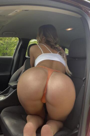 bent over in orange