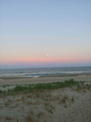 moon rising over the ocean