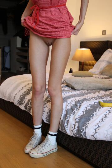 long legs leading from pussy to chucks, just about as good it gets!