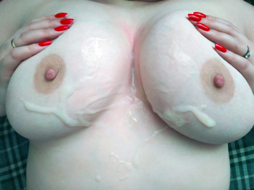 my tits are covered with yummy cum.