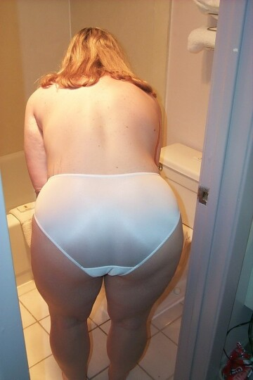 bent over in white