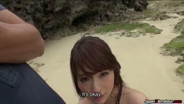 japanese girl sucking dick at a beach