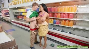 slutty latina in the supermarket