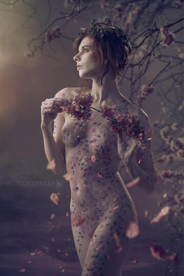 pink blossom bodypaint i did in the spring. shot this on white and then added additional petals i shot later as well as the tree.