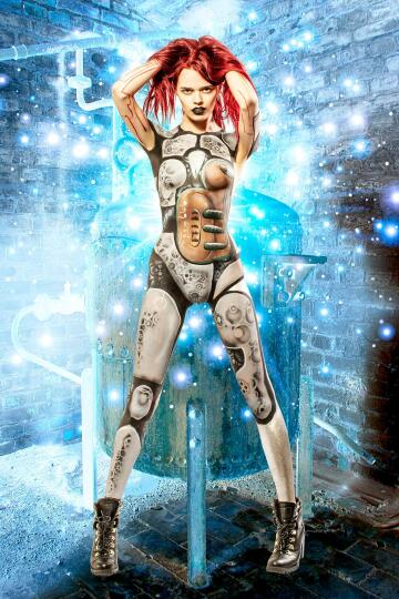 cyborg in the boiler room. bodypaint on dayah by me!