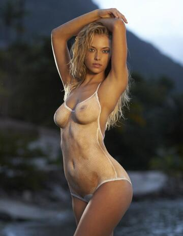 see through look body paint swimsuit.