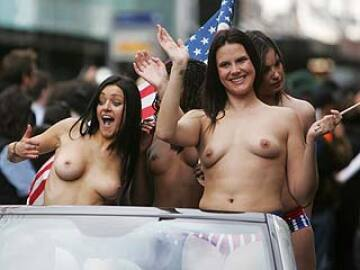 topless in a parade