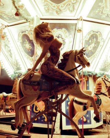 riding one of those bouncing circle horses