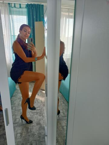 sheer and shiny pantyhose worn today with black shorts. smart yet sexy outfit