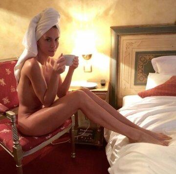 enjoying a cuppa after her bath