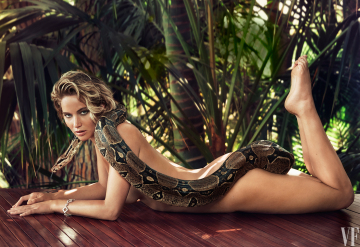 jennifer lawrence naked with a boa from vanity fair