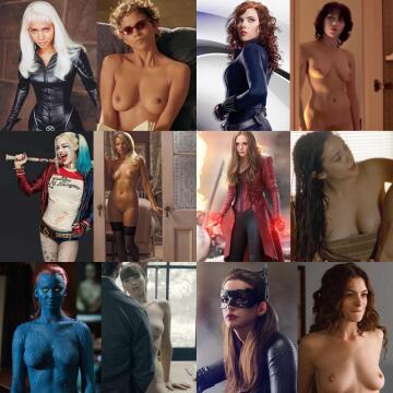dc/marvel girls: halle berry, scarlett johansson, margot robbie, elizabeth olsen, jennifer lawrence, anne hathaway