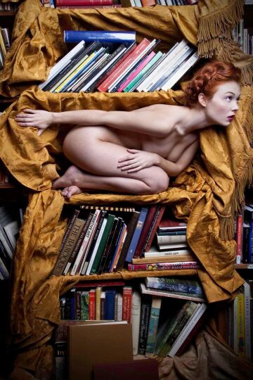 nude portrait of a book lover