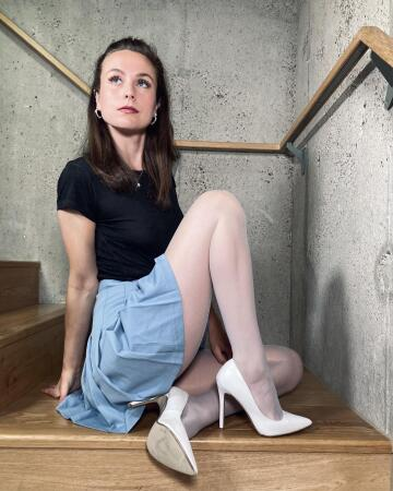 sometimes, i sit on the stairs in my sheer tights and ponder my existence 🧐