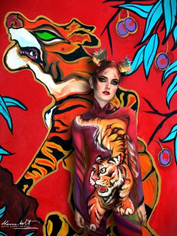 red tiger, shannon holt, acrylic and body paint