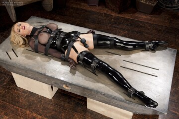 randy moore - latex lingerie, strapped to table with vibrator