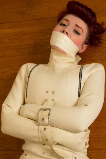 ludella hahn - white latex straitjacket and tape gag