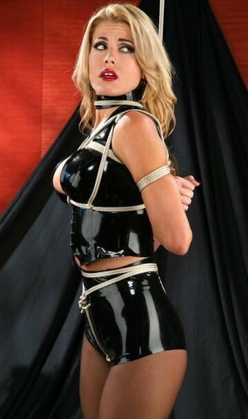 randy moore - black latex top/shorts, rope bondage