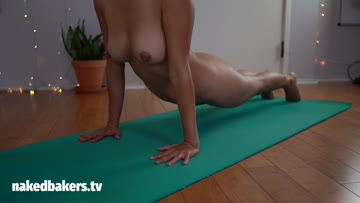 tried filming my [f]riend doing some naked yoga.