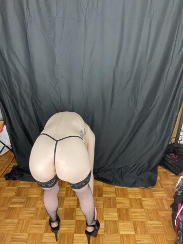 """bent over as far as i could in 6"""" heels to show you my ass."""