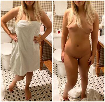 would you make wifey (25f) drop that towel if you were alone with her in a hotel room like i did?