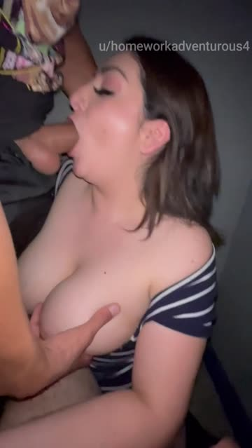 sex shop worker came to find me in a different stall. even spit on my hubby's cock and moved my hand to jack him off too. his manager came and got him out right after this part.