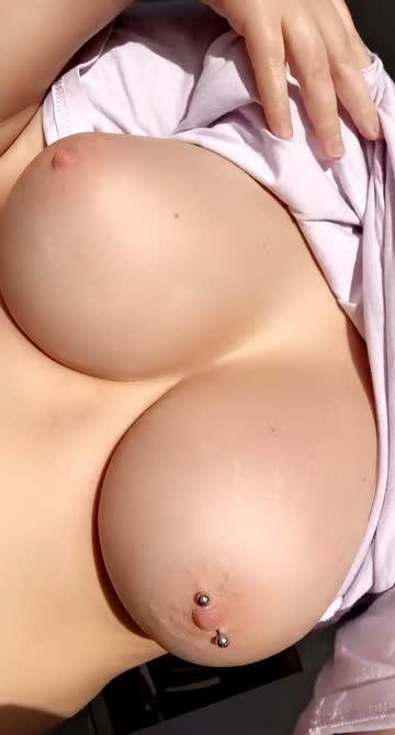 perky big tits nipple piercing