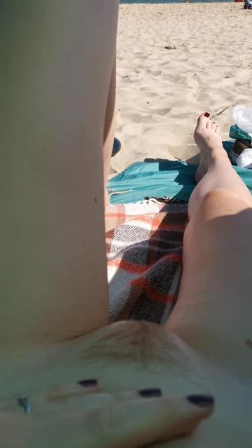 hairy pussy public clit rubbing pubic hair redhead beach legs nsfw video