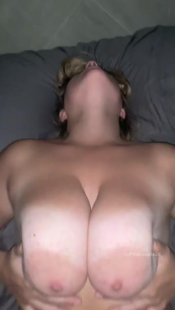 pussy cum on tits pov